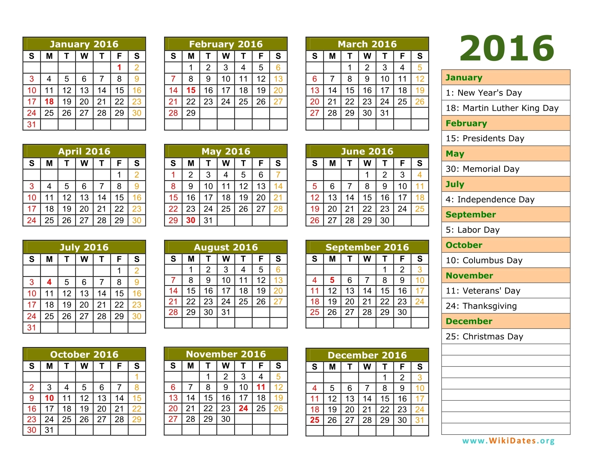 15007 – Calendar With Holidays 2016 – 1919×1483